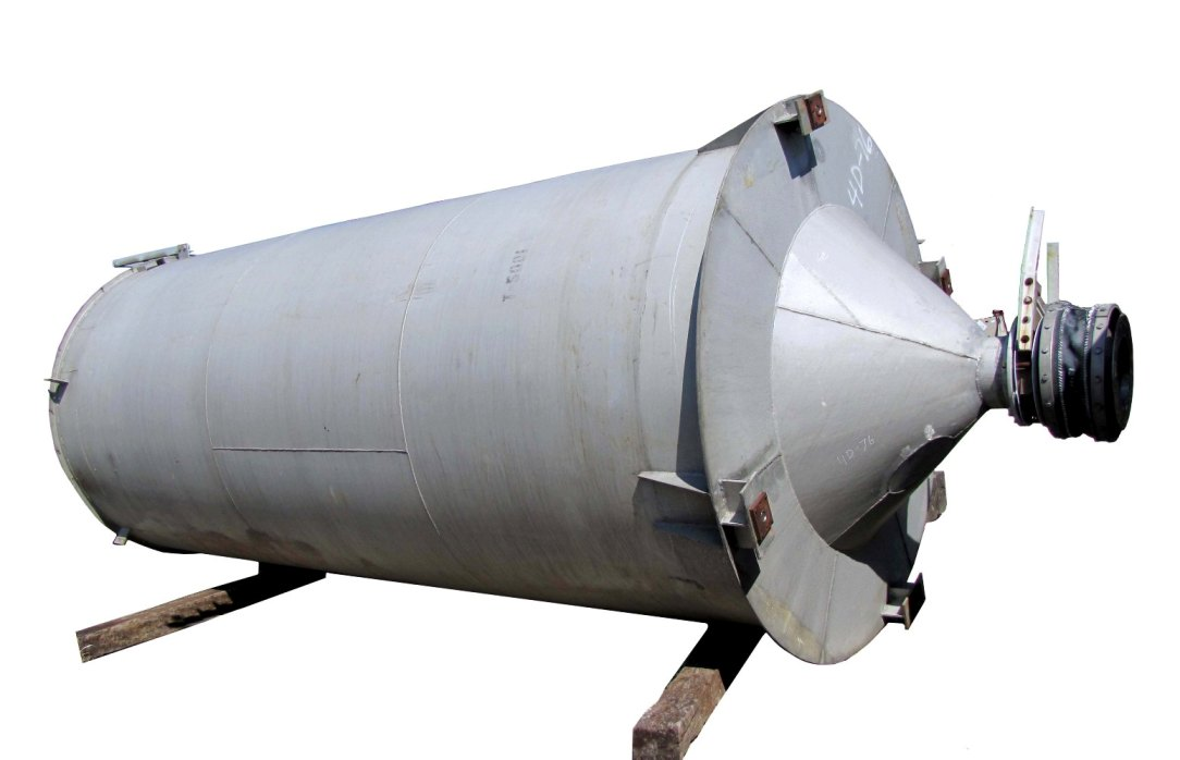 Aluminum Storage Silo. 8\'Dia. x 20\' plus cone bottom. Approx. 7500 Gallon (1,000 Cu.Ft.) Capacity