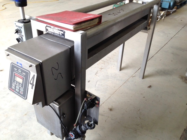 used Thermo Ramsey Icore Metal Scout IIe, In-Line Metal Detector. Opening is 43\