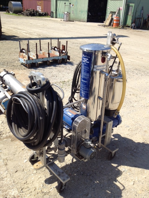 Used Strahman portable cleaning system Model M-6000. Skid mounted sytem with (2) SS Tanks, (2) pumps (1/2 & 2 HP, 115/230V 1Ph), spray nozzle, hoses fittings guages etc.