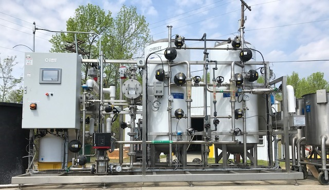 Used UltraPure Water Treatment Skid for sale. The treatment vessels are stainless steel 100 PSI and 2'6