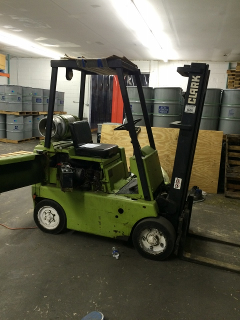 Used Clark fork lift model C40-30.  Propane.  Hard tires. 4000 lb capacity.  SN 35618-4376.