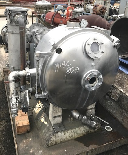 used Cornell Versator model D-26 Deaerator/Defoamer. Stainless Steel contact parts. Driven by 20 HP, 208-230/460 v, 1755 RPM  Mounted on portable base with vacuum pump and basket filter. Last used in Sanitary application in Pharmaceutical plant.