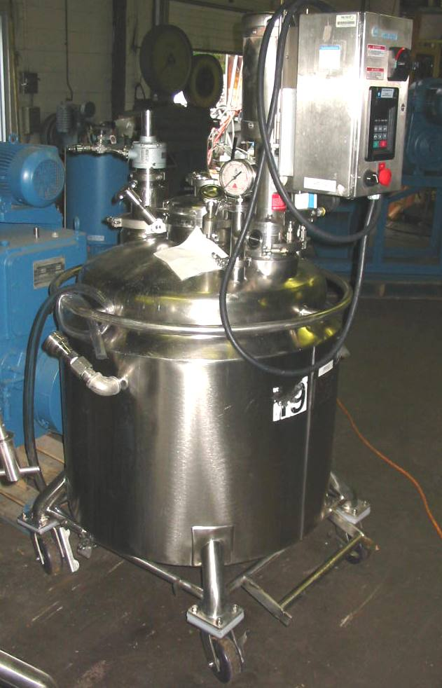 60 Gallon Vertical Jacketed Dual Agitated Reactor, 316 Sanitary Stainless Steel Construction with internal polished finish, welded dished heads.  Stainless Steel Jacket, top openings- (1)- 8