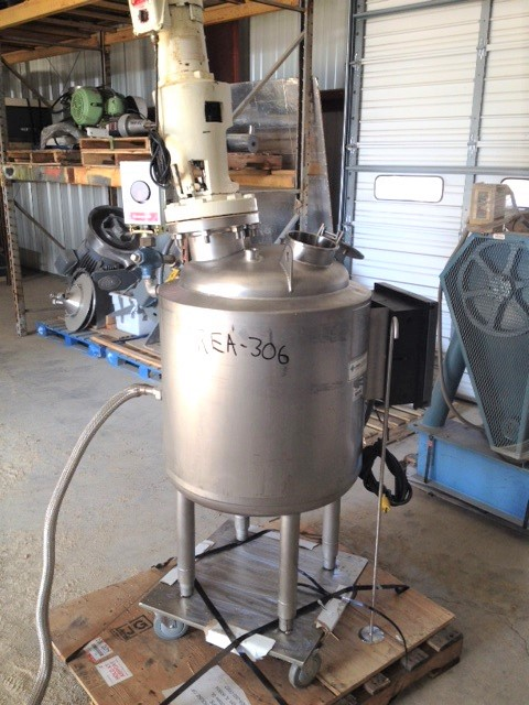 used 50 Gallon Letsch Corp. Sanitary Construction Reactor. Rated 25 PSI @ 250 Deg.F internal and 100 PSI @ 250 Deg.F Jacket. Has top mounted Ligthnin 1/3 HP, 1725 rpm, model XJSS-33VM Mixer with Propeller style agitator. Mounted on wheels with Honeywell DR4300 Chart Recorder.