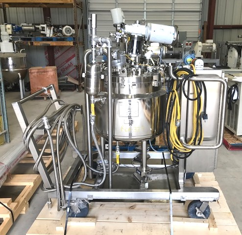 ***SOLD*** used 35 Gallon Feldmeier Sanitary Pharmaceutical grade reactor.  Rated 50/FV @ 330 Deg.F internal. Jacket rated 90/FV @ 330 Deg.F. Reactor is ~2' dia. x 1'6
