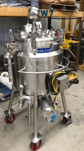 used 100 Liter (26.4 Gal.) DCI Sanitary Pharmaceutical Reactor/Fermenter. Rated 45/Vacuum PSI @ 346 Deg.F. Internal.  Jacket rated 150/Vacuum PSI @ 346 Deg.F.. 20