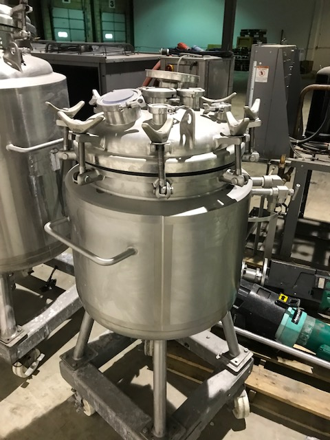 used 30 Gallon (110L) Sanitary Construction Stainless steel Precision Stainless reactor. Rated 50 PSI/Vacuum @ 302 Deg.F Internal. Jacket rated 100 PSI @ 302 Deg.F.. Has Lightnin 1/2 HP, model V5S18 mixer. S/N 8134-2