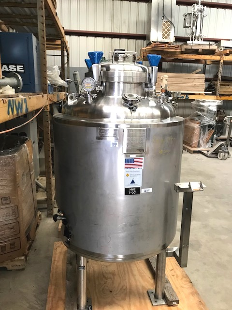Used 118 Gallon (450 Liter)Sanitary Reactor Vessel. 316L Stainless Steel Shell Rated 44 PSI @ 200 Deg.F.  Jacket Rated 75 PSI @ 200 Deg.F.. 32