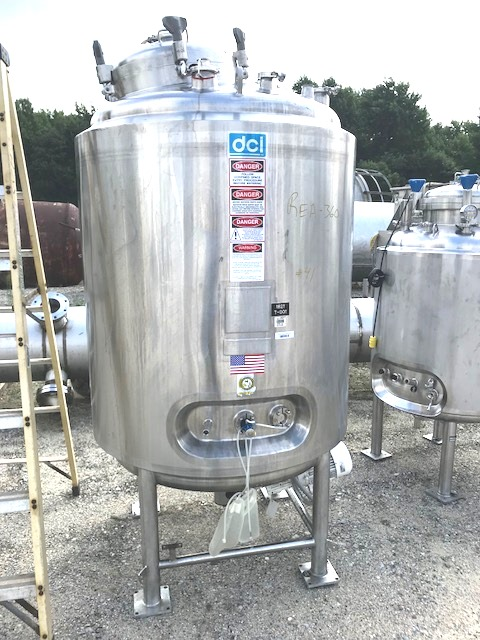 used 1200 Liter (317 Gallon) Sanitary Stainless Steel Reactor Vessel built by DCI. 316L Stainless Steel Shell Rated 60/FV @ 350 Deg.F.  Jacket Rated 90 PSI @ 350 Deg.F.  42