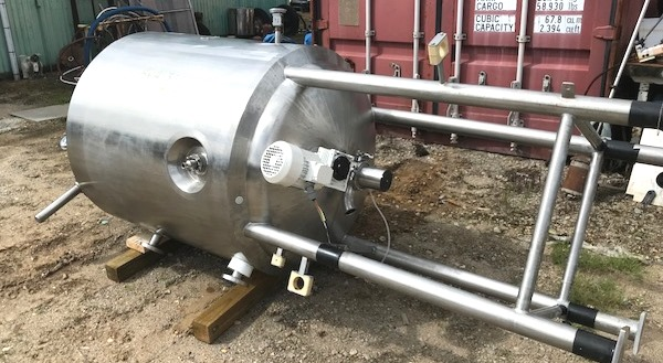 used 600 Liter (158 Gallon) Sanitary Stainless Steel Reactor Vessel built by DCI. 316L Stainless Steel Shell Rated 60/FV @ 350 Deg.F.  Jacket Rated 90 PSI @ 350 Deg.F.  36