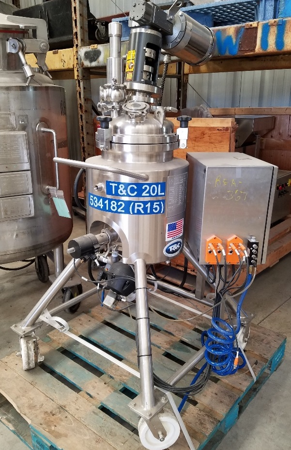 used 5 Gallon (20 liter) Sanitary Stainless Steel Reactor. Built by T&C, Rated 45/FV @ 350 Deg.F. Internal. Jacket Rated 100/FV @ 350 Deg.F. S/N TC7284, Mounted on S/S Portable Frame, with Allen Bradley PowerFlex40 VFD, with S/S Control Box, with Baldor .5 hp S/S Clad Agitation Motor, 1750 RPM. NB # 1154