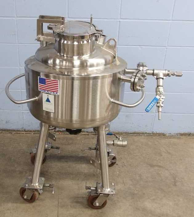 ***SOLD*** used 13 Gallon (50L) Precision Stainless Jacketed Stainless Steel Portable Reactor/Vessel. Internal is 316L Stainless Steel, rated 50 PSI/Vacuum @ 350 Deg.F.  Jacket is 304SS, Rated 100 PSI @ 350 Deg.F.