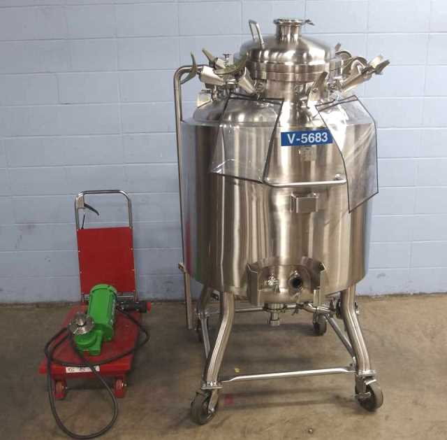 used 80 Gallon (300 Liter) Stainless Technology 316L Stainless Steel Sanitary Reactor. Internal rated 100/FV @ 300 Deg.F.  Jacket rated 100 PSI @ 300 Deg.F. Has bottom mounted mixer.  Portable, mounted on casters. Approx. 73