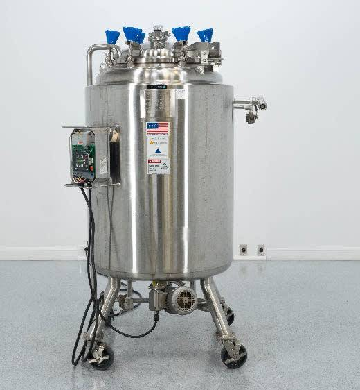 ***SOLD*** used 500 Liter Sanitary ITT Industries Pure-Flow Jacketed Reactor Vessel. Rated Internal 60 PSI/Full Vacuum @ 350 Deg.F., MDMT -20F @ 60 PSI Jacket 100 PSI @ 350 Deg.F, MDMT -20F @ 100 PSI. SN: 221169-1. Includes Bottom Mounted Agitation With Nord Motor, 0.75 HP, 0.55 kw, 230/460 V, 1710 RPMi (184 RPMo).  6'5