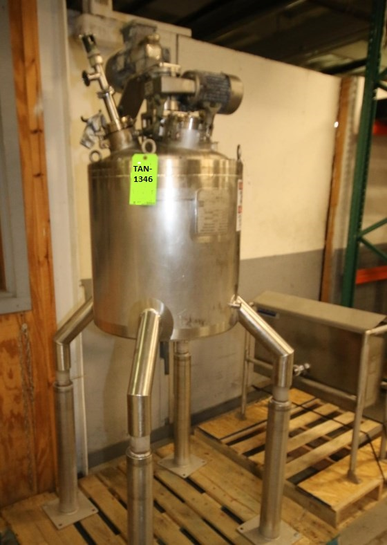 used 20 Gallon Jacketed Double Motion Mix Kettle/Reactor with sweep mixer with scraper blades and shaft with 2 mix props.  Walker model PZ-K-VP. Jacket rated 100 PSI @ 360 Deg.F.. Vessel rated 15 PSI /-15 PSI Vacuum.  NB# 3317. Last used in sanitary application.