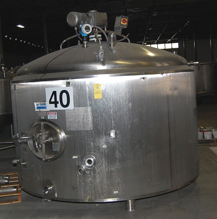 Used 2000 gallon APV Crepaco stainless steel sanitary jacketed process mix Tank/Kettle. Jacket rated 94 PSI @ 200 Deg.F. 96
