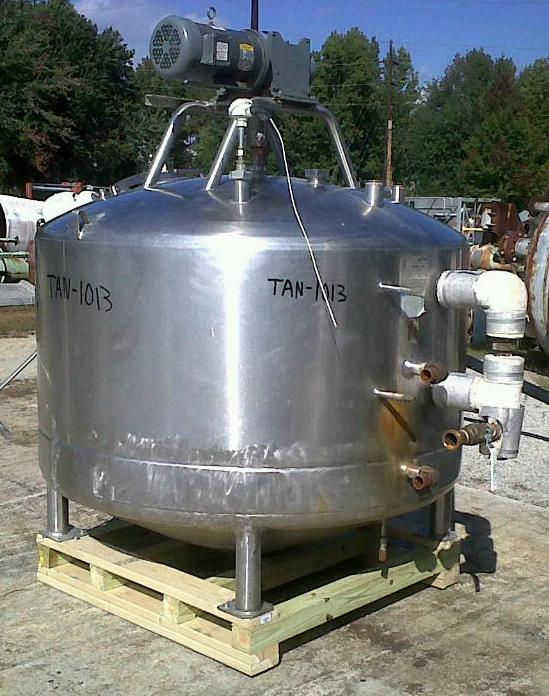 500 gallon Mueller jacketed mixing kettle/tank. Cone bottom with sweep type agitator/mixer.  Has provisions to add scraper blades (not included).  Driven by 3/1.5 HP, 460 V, 1725/650 RPMi.  Jacket rated 100 PSI @ 400 Deg.F.  Approx. 5'4