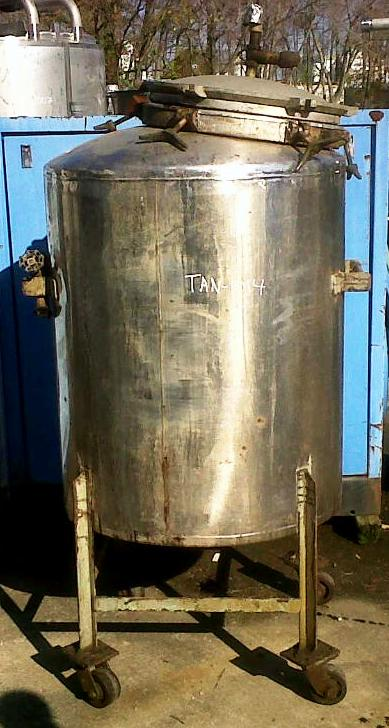 used Lee 125 gallon stainless steel tank, portable on wheels.  32