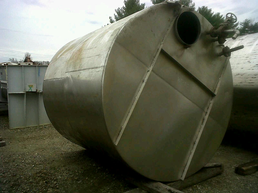 used 3,000 gallon stainless steel storage tank.  7'10
