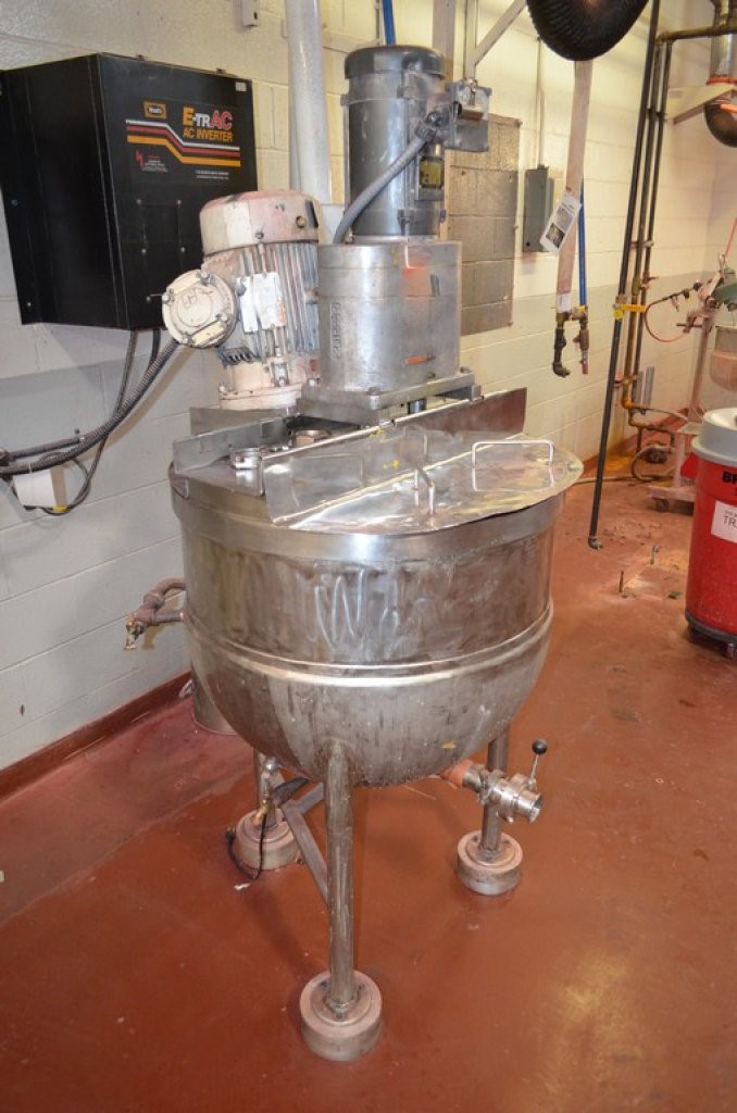 used Groen 60 Gallon Stainless Steel Jackted Mix Kettle. Model TA 60. Triple motion mixing. Unit equipped with Full Sweep Agitator with Scrappers and Counter Rotating 4-Tier Turbine
