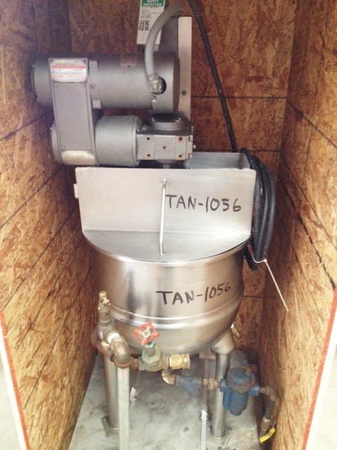 ***SOLD***used Groen 20 Gallon Jacketed Mix Kettle, stainless steel. Model RA20SP. Jacket rated 100 psi @ 338 F, Anchor Agitation with scraper blades driven by 0.5 HP, 1725 RPM into gear 36:1, 56 RPM max, 14 RPM mim. 2