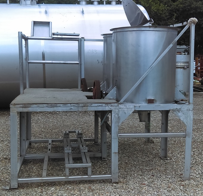 Used Dual 100 Gallon Salad Dressing Style Mixer.  Dixie style mixer.  Tanks mounted on Stainless Steel platform (footprint 75