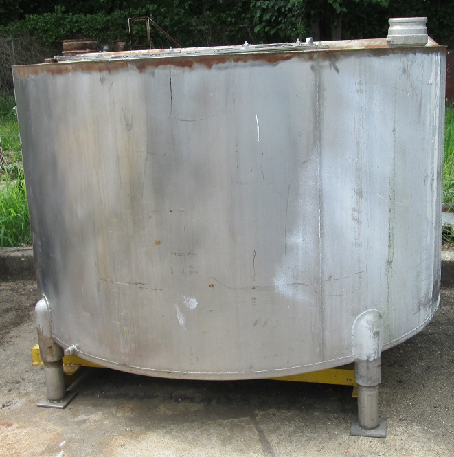 ***SOLD*** 300 gallon stainless steel storage tank mounted on carbon steel frame with forklift slots for easy portability (portable).  Tank is 56