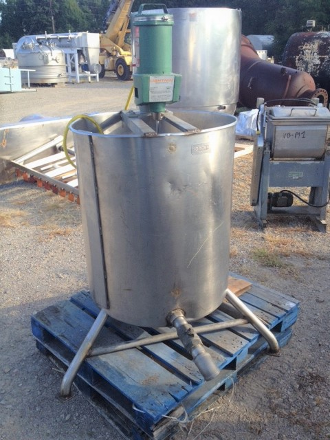 used 95 Gallon Stainless steel mix tank built by Groen.  Model 95 gal SP. 30