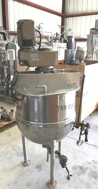 used 60 Gallon GROEN Jacketed Mix Kettle. Model RA-60. Steam Jacket rated 100 PSI @ 338 Deg.F.  Has sweep agitator with scraper blades and (2) paddle baffles. Driven by 3 HP, 1700 rpm, 230/460 volt motor into a 69.31:1 gear reducer for approx 24.5 rpm output. 3
