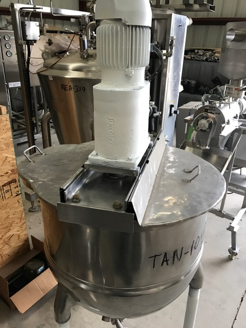 used 80 Gallon GROEN Jacketed Mix Kettle. Double Motion agitation with scraper blades and tree mixer. Model TA80SP. Driven by 2 HP, 1730 rpm, 230/460 volt motor. Includes lift off lids. Jacket rated 100 PSI. Last used in food plant.