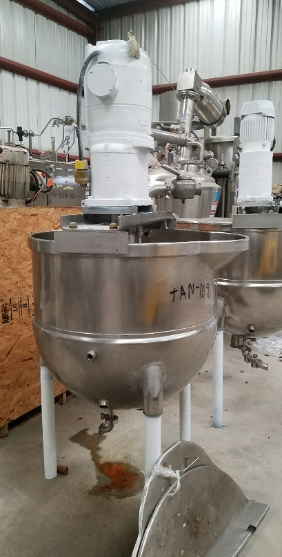 ***SOLD***used 80 Gallon GROEN Jacketed Mix Kettle. Double Motion agitation with scraper blades and tree mixer. Model TA80SP. Driven by 2 HP, 1750 rpm, 220 volt motor. Jacket rated 100 PSI. Includes lift off lids. Last used in food plant.