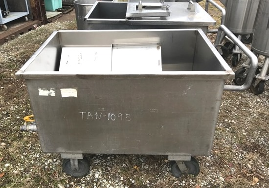 (2) approx. 170 Gallon Stainless Steel Sanitary Portable Tanks/Totes. Rectangular 2'6
