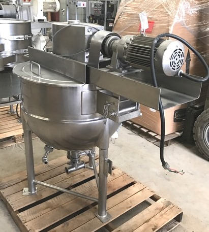 used 50 Gallon LEE Kettle with Double motion scraper agitation.  Model 50D9MT.  Jacket rated 40 PSI @ 287 Deg.F. 2