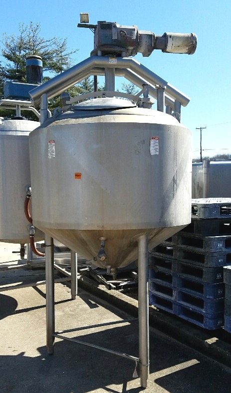 ***SOLD***used 250 Gallon APV Crepaco Jacketed Double Motion Sanitary Mix Tank/Kettle. Has provisions scraper blades. Jacket is 75 PSI @ 350/-20 Deg.F.  Drive is 2 HP, 208-230/460 volt, 1725 RPMi, 8 RPMo, 217:1 ratio. Dome top and cone bottom.  Includes spray ball for CIP. Last used in food plant. ~10'2