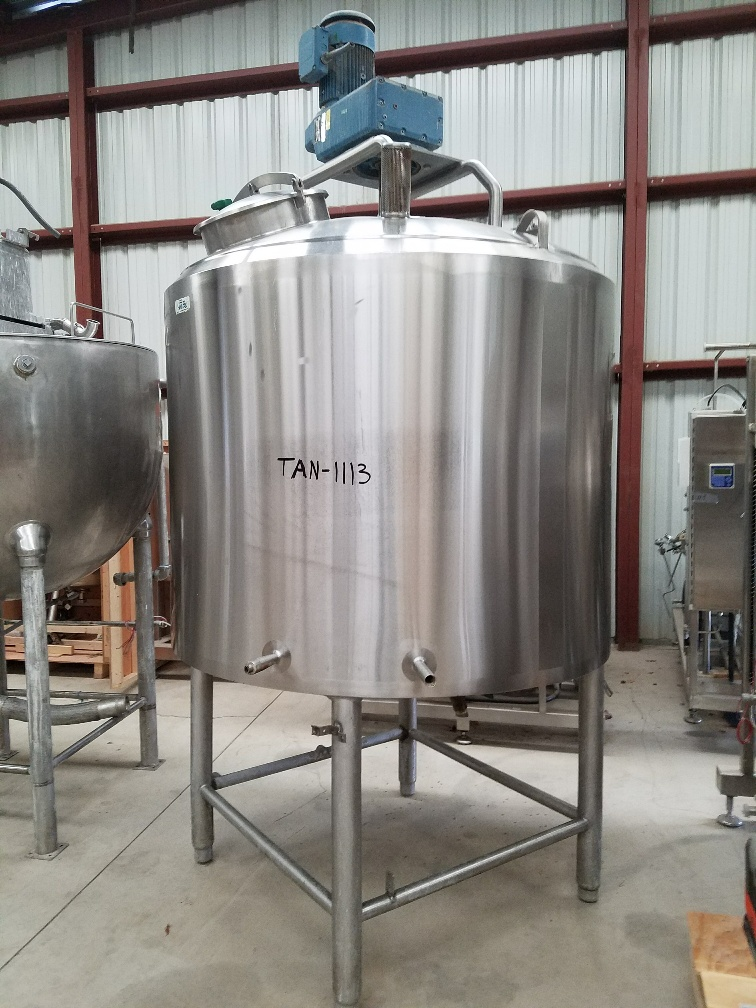 ***SOLD***used 500 Gallon SaniFab Jacketed Double Motion Stainless Steel Sanitary Mix Tank/Kettle.  Jacket rated 75 PSI @ 200 Deg.F. Unit has provisions for scraper blades. Includes CIP spray ball. Last used in sanitary Food Plant.