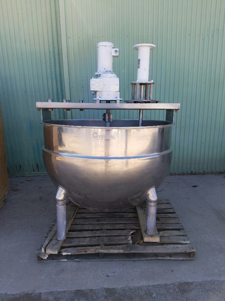 used 250 gallon GROEN jacketed mixing kettle model NEM-250.  316 stainless steel construction.  Has sweep mixer with scraper blades and Admix Rotosolver high shear mixer model 112RS133 (rotosolver requires motor).  Sweep mixer driven by 5 HP, 208-230/460 V, 1725 RPM motor.  Jacket rated 100 PSI @ 338 degF.  Previously used in sanitary food plant.