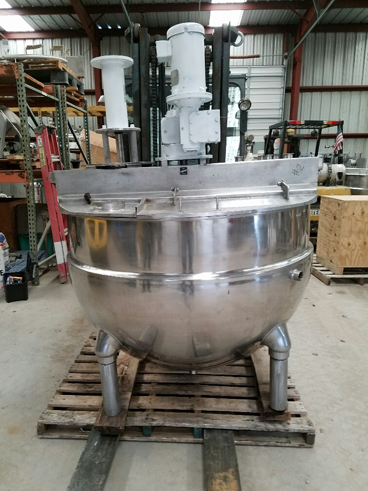 used 250 gallon GROEN jacketed mixing kettle model NEM-250.  316 stainless steel construction.  Has sweep mixer with scraper blades and Admix Rotosolver high shear mixer model 112RS133 (rotosolver requires motor).  Sweep mixer driven by 5 HP, 208-230/460 V, 1725 RPM motor.  Jacket rated 100 PSI @ 338 degF.  Previously used in sanitary application.