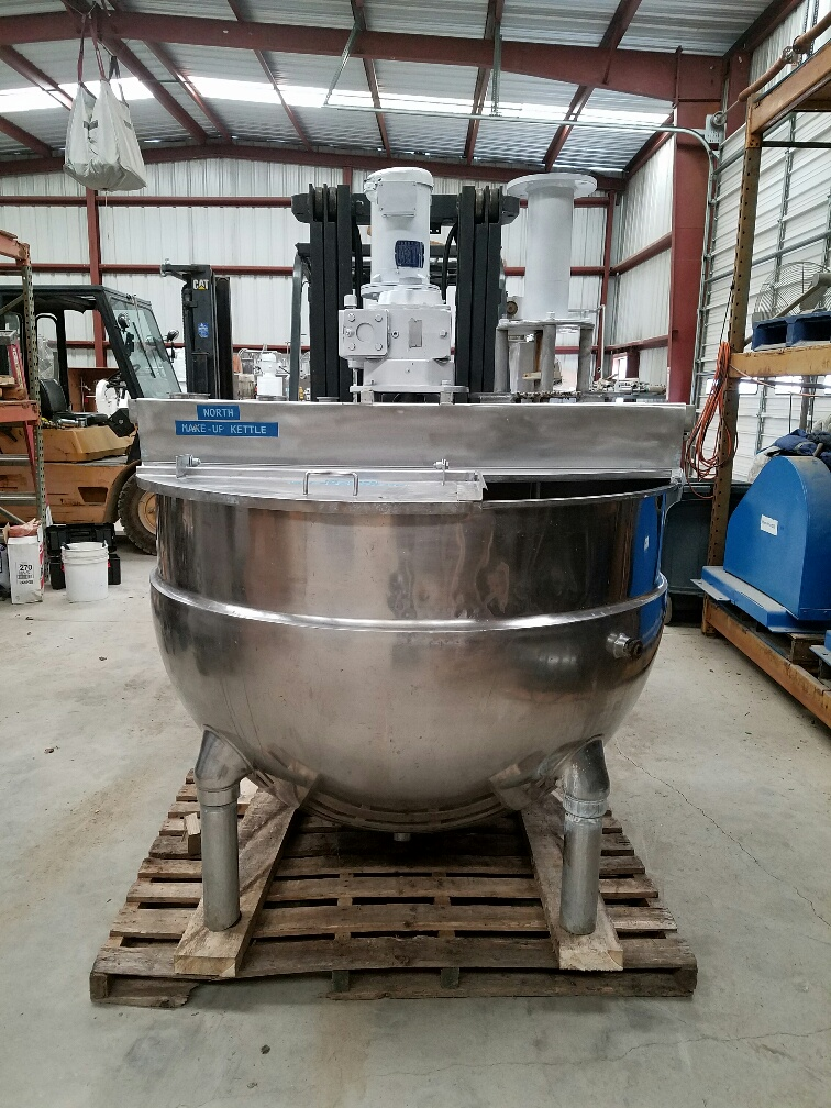 ***SOLD***used 250 gallon GROEN jacketed mixing kettle model NEM-250.  316 stainless steel construction.  Has sweep mixer with scraper blades and Admix Rotosolver high shear mixer model 112RS133 (rotosolver requires motor).  Sweep mixer driven by 3 HP, 208-230/460 V, 1725 RPM motor.  Jacket rated 100 PSI @ 338 degF.  Previously used in sanitary application.