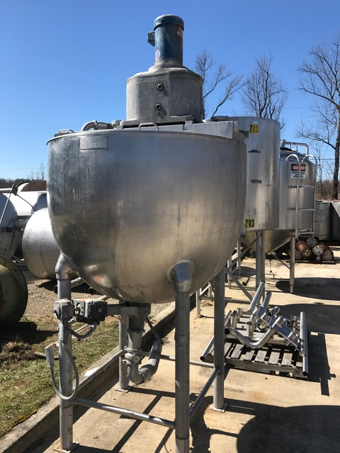 used 300 Gallon GROEN Jacketed Double Motion Mix Kettle. Model TA-300. Has anchor mixer with provisions for scraper blades (no blades installed) and Tree style mixer. 316 Stainless Steel. Jacket rated 100 PSI @ 338 Deg.F. Last used in sanitary food plant.
