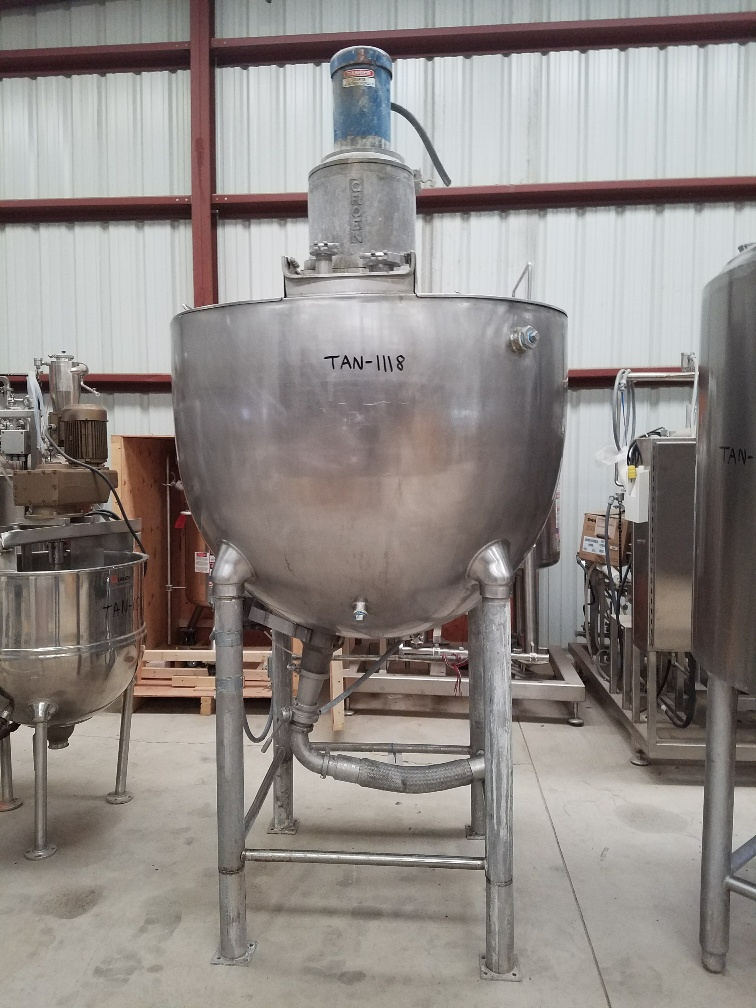 ***SOLD*** used 300 Gallon GROEN Jacketed Double Motion Mix Kettle. Model TA-300. Has anchor mixer with provisions for scraper blades (no blades installed) and Tree style mixer. 316 Stainless Steel. Jacket rated 100 PSI @ 338 Deg.F. Last used in sanitary food plant. Kettle is approx 54