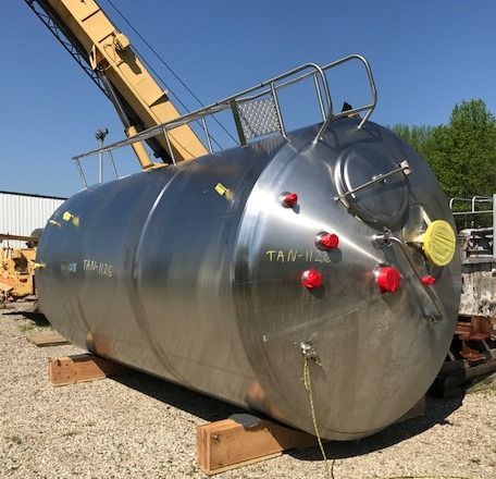 used 5000 Gallon Cherry Burrell Sanitary Jacketed Mix Tank. 316 Stainless Steel. 8' dia. x 14' T/T. Jacket rated for 100 PSI @ 350 Deg.F. Mixer is EMI model XTM-5, 1HP, 208-230/460 volt, 1140 rpm into gear reducer. Has 2