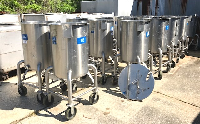 (15) 60 gallon Stainless Steel Sanitary portable tanks built by Viatec.  2' dia. x 2'9