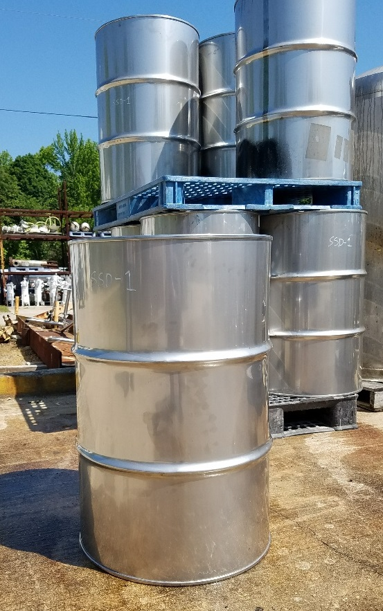 Qty (3): 55 gallon stainless steel drums.  22