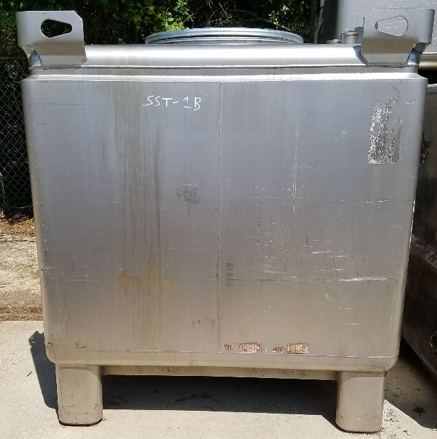 ***SOLD*** used 350 gallon stainless steel totes. Custom Metalcraft Transtore IBC totes.  Center bottom outlet. Top openings: (1) 22.5
