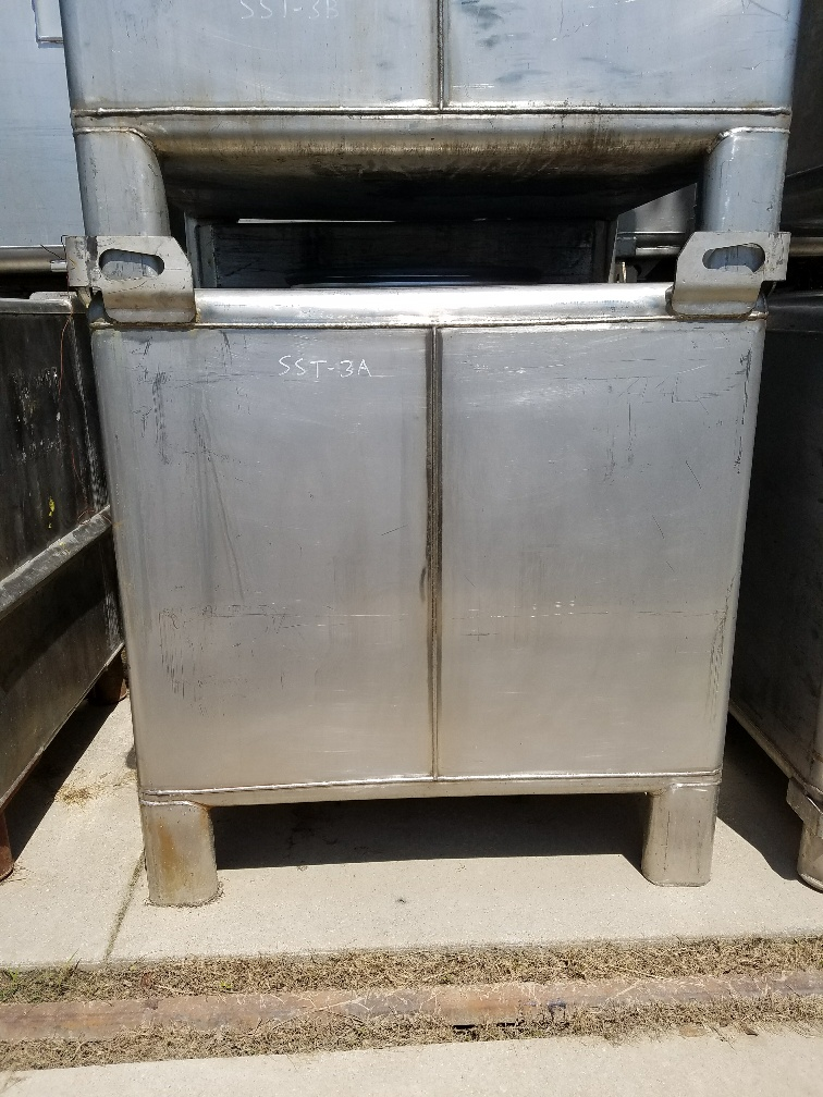 ***sold***Qty (3): used 340 gallon stainless steel tote tank.  Portable tote tank. Previously used in sanitary flavors plant.
