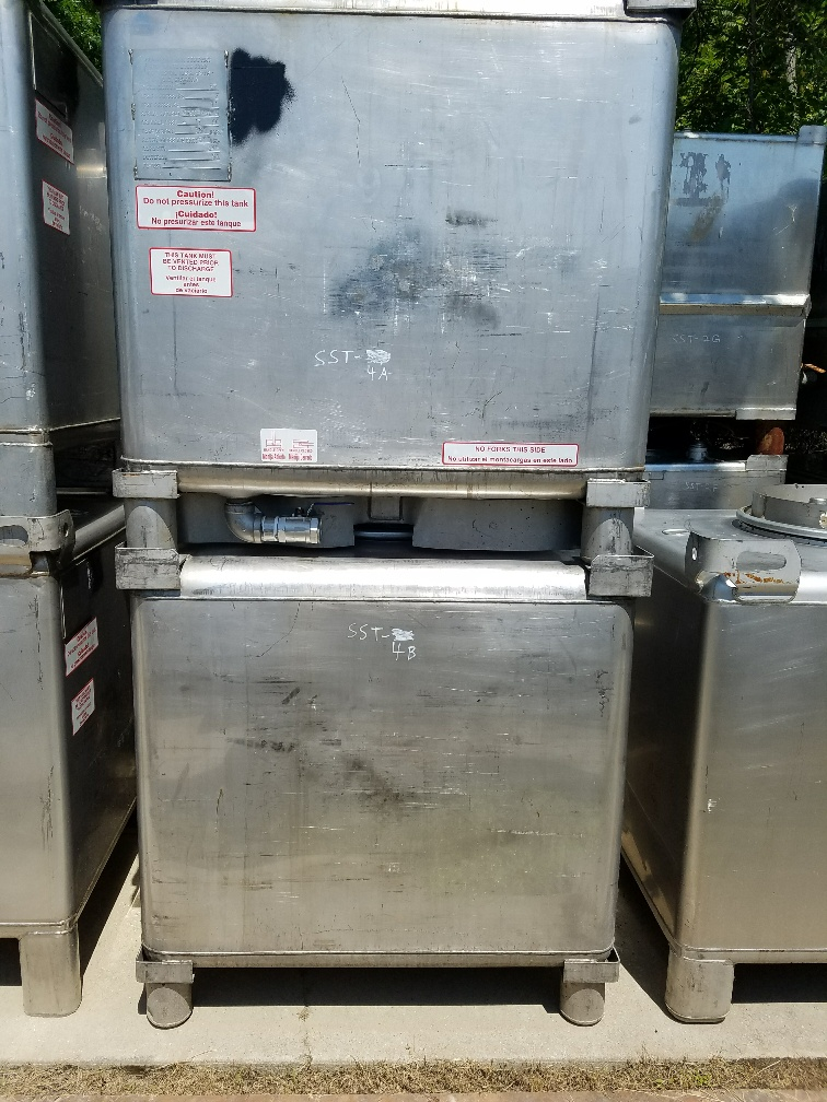 ***SOLD***Qty (6): used 345 gallon stainless steel tote tank.  Manufactured by Clawson Container Co.  Portable tote tank.  Previously used in sanitary flavors plant.