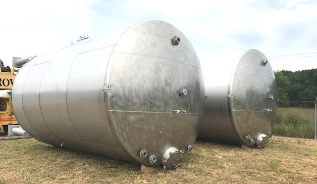 ***SOLD*** (4) Each, 15,000 Gallon Stainless Steel Agitated Tank. (487 BBL). Dish Bottom and Top. Equipped with Alsop Model 200, 2 HP, 208-230/460 volt Explosion proof (XP) Side Entering Mixer. 12' Diameter x 23' Overall Height.  4