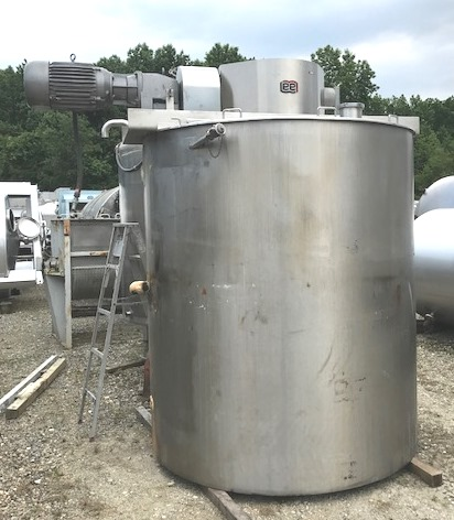 used 1500 Gallon LEE Double Motion Jacketed Mix Kettle with scraper blades. Model 1500U9MS. Cone Bottom, Flat Top. Jacket rated 100 PSI @ 338 degF. Has 15 HP, Explosion Proof (XP) 230/460 volt drive into Nord gearbox with 98 RPM output. Approx. 9'6