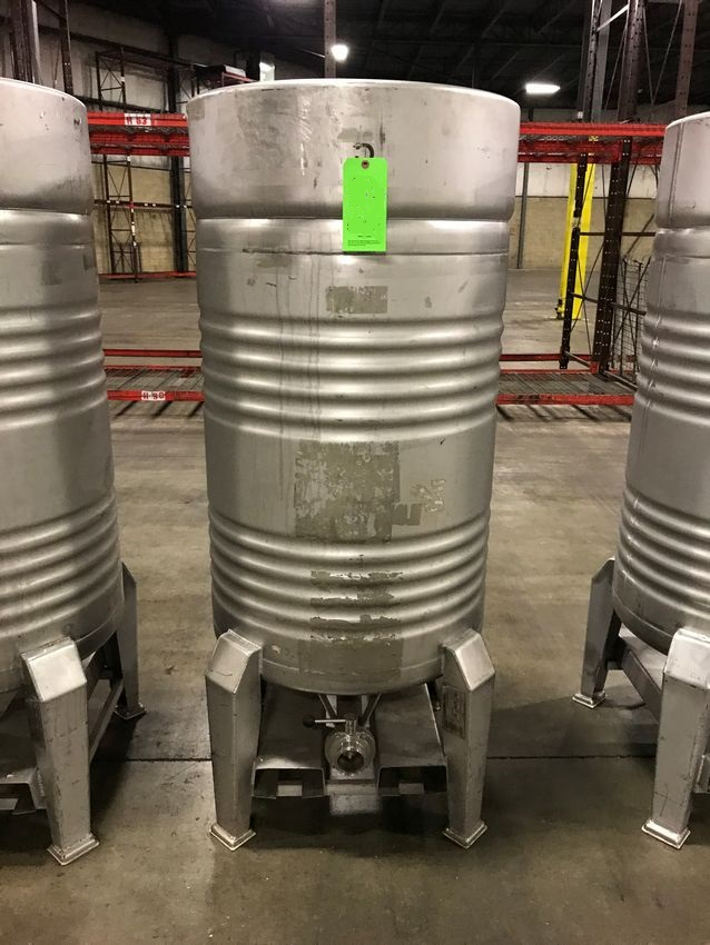 ***SOLD*** (6) used 410 Liter (108 gallon) Stainless Steel Sanitary tanks/Totes from Alcohol bottling plant. Built by Sharpsville Container.  Approx. 66