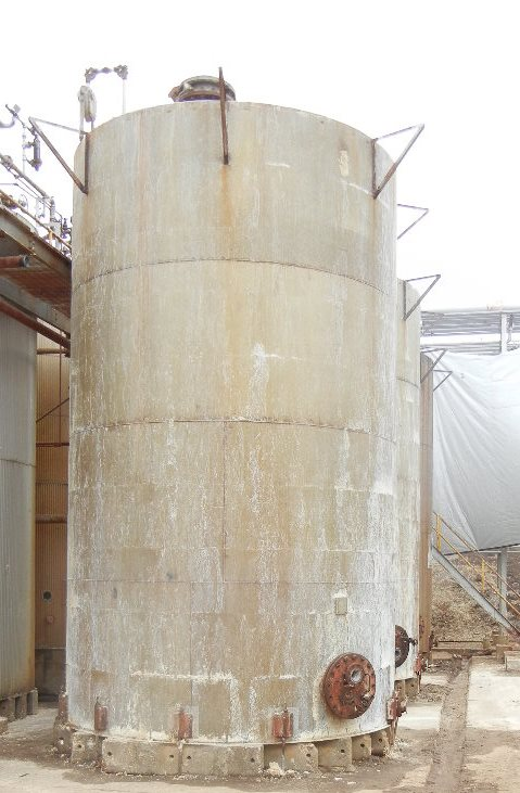 Qty (3) 16,500 gallon stainless steel storage tanks.  Approx. 12' dia x 20' straight side.  Cone top, flat bottom.